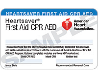 heartsaver first aid cpr aed course completion card 3 card sheet. Black Bedroom Furniture Sets. Home Design Ideas